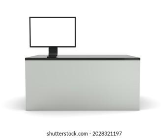 Empty banner on reception desk. 3d render illustration.