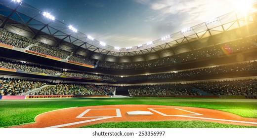空の野球場3Dレンダリングパノラマ