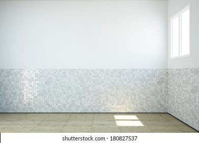 Empty bathroom with windows and tiles on wall and wooden floor