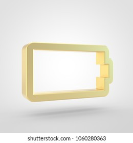 Empty battery icon. 3d render of golden empty batery symbol isolated on white background.