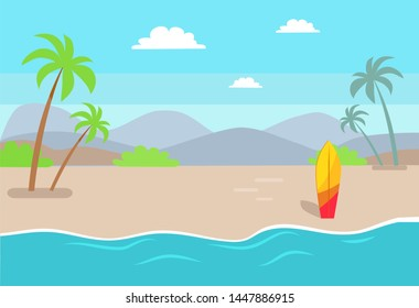 Empty beach near sea with tall palms and bright surfboard. deserted surfboard stick out of sand line cartoon raster illustration.