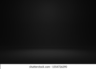 Empty black background and spotlight in centre with studio for showing or design. Dark backdrop made from cement material. Realistic 3D render.