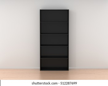 Empty black bookcase isolated against the white wall in bright interior. 3d render