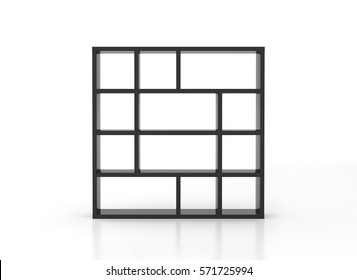 Empty black bookcase shelves isolated on white background. Include clipping path. 3d render