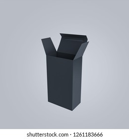 Empty Black box on gray background. 3d rendering