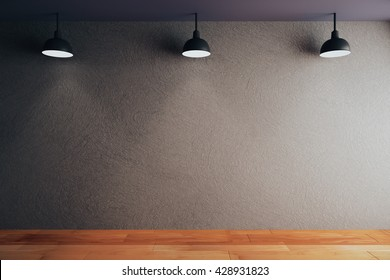 Empty black concrete wall in room with wooden floor and ceiling with lamps. Mock up, 3D Rendering