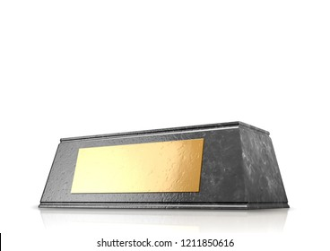 An empty black marble trophy base with a blank golden plaque on an isolated white studio background - 3D render