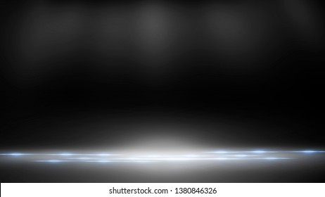 Empty black scene. Black photo background, rays of light. Abstract texture of black scene.