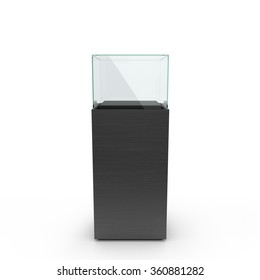 empty black showcase with pedestal. 3d illustration isolated on white background