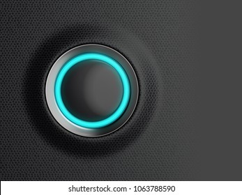 Empty black start button, ready for your text message, symbol or icon, car dashboard close-up. 3d illustration.