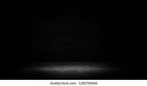 Empty black studio room. Dark background. Abstract dark empty studio room texture.  Product showcase spotlight background. Dark Studio Gallery
