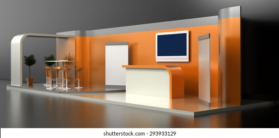 Empty and blank exhibition booth; original 3d illustration, original 3d modeling.