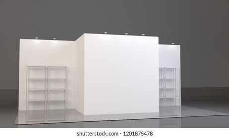 Empty blank stand booth mock-up template. 3D rendering on dark background