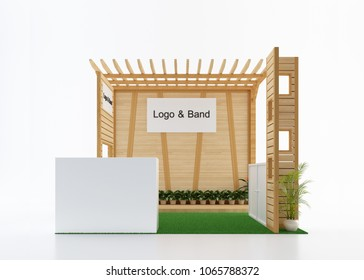 Empty and blank wood exhibition booth from front view. 3d rendering