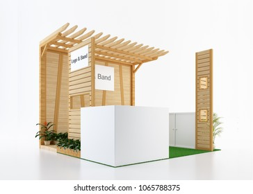 Empty and blank wood exhibition booth from side view. 3d rendering