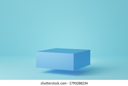 Empty blue cube podium floating on blue background. Abstract minimal studio 3d geometric shape object. Mockup space for display of product design. 3d rendering.