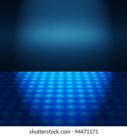 empty blue disco scene with textured floor and beams of light - interior background to insert text or design