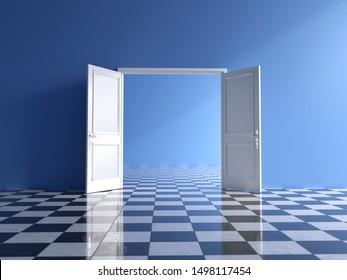 empty blue interior with open double door and chess floor, 3d illustration