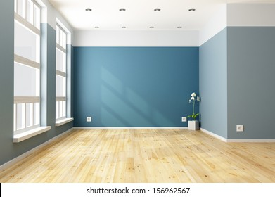 Empty blue living room with big windows - rendering