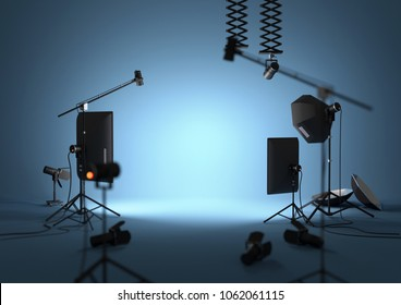 An empty blue photography studio with lighting equipment. 3D illustration