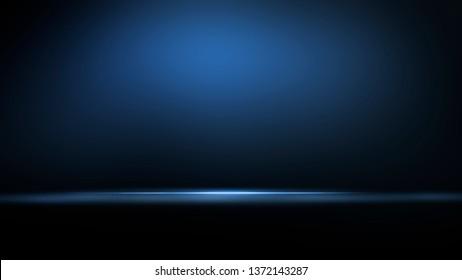 Empty blue studio room. Dark background. Abstract dark empty studio room texture.  Product showcase spotlight background.