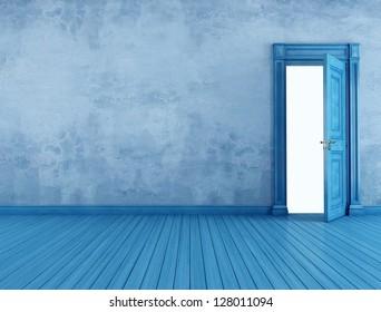 Empty  blue vintage room with open old door - rendering