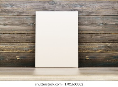 Empty book on a wooden shelf. Template for advertising and presentation of books. Wooden background. 3D rendering.