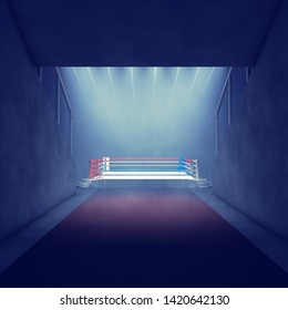 Empty Boxing ring lit by spotlights, Boxing arena entrance, 3d illustration