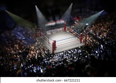 Empty boxing ring surrounded with spectators. 3D illustration.