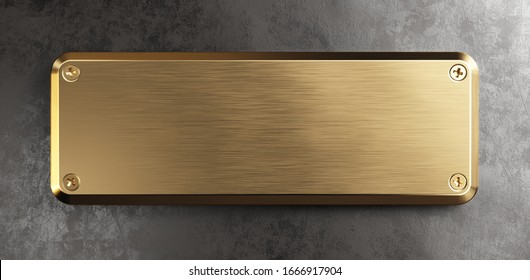 Empty brass metal plate. Clipping path included. 3d illustration