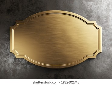 Empty brass metal plate. Vintage, steampunk style. Clipping path included, 3d illustration