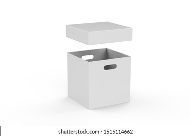 Empty brown cardboard box packaging container for transportation, storage and keeping, hard paper box mock up template on isolated white background, 3d illustration