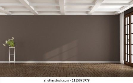 Empty brown room with window and white coffered ceiling - 3d rendering