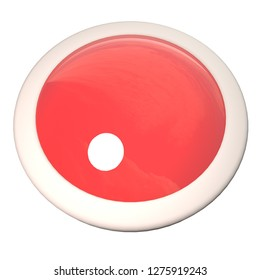 Empty button over white background, 3d rendering