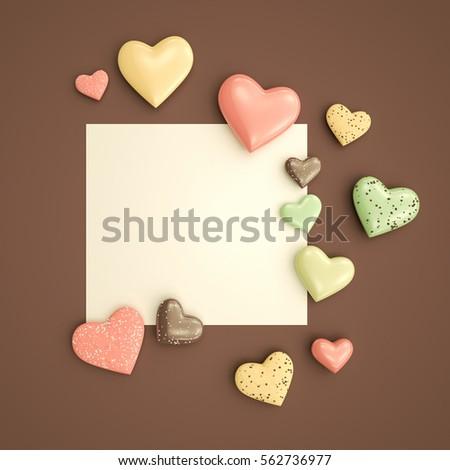 Empty Card Mockup Love Message Valentines Stock Illustration