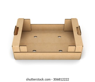 Empty cardboard boxes for fruit and vegetables isolated on white background.
