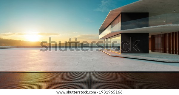 Empty cement floor with steel and modern building exterior.  Morning scene. Photorealistic 3D rendering.