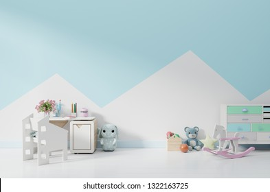 An empty children's playroom with cabinet and table sitting,doll. 3D rendering