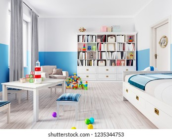 An empty children's playroom with a children's table and colorful toys. 3d rendering