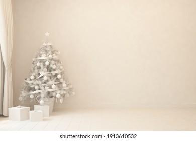 Empty christmas interior of living room. Scandinavian design. 3D illustration