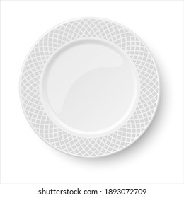 Empty classic white plate with grey pattern isolated on white background. View from above.