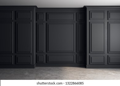 Empty classical interior with black copyspace on wall. Mock up, 3D Rendering