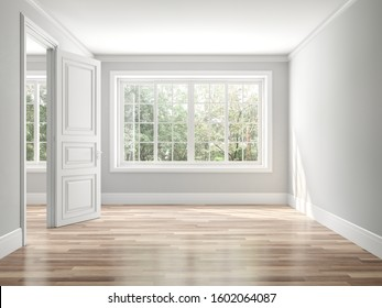 Empty classical style room 3d render,The rooms have wooden floors and gray walls ,decorate with white moulding,there white window looking out to the balcony and nature view.