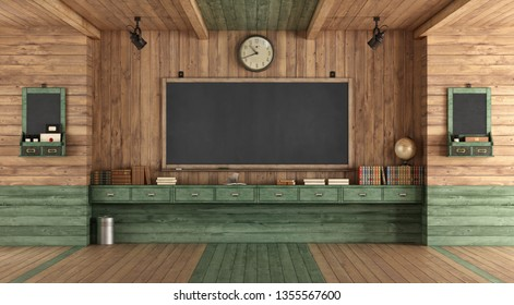 Empty classroom in retro style with blackboard against wooden wall - rendering