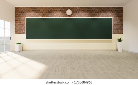 3D-Darstellung von Klassenräumen und leerem grünem Hintergrund.