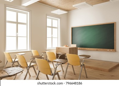 Empty Classroom with Yellow Student Chairs 3d rendering
