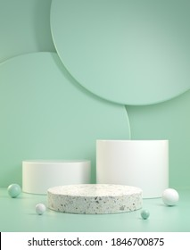 Empty Clean Minimal Mockup Three Steps Display With Green Mint Color Abstract Background 3d Render