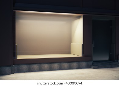 Empty clean showcase at nighttime. Mock up, 3D Rendering