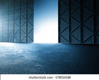Empty clean warehouse aircraft hanger car stage showroom 3D illustration