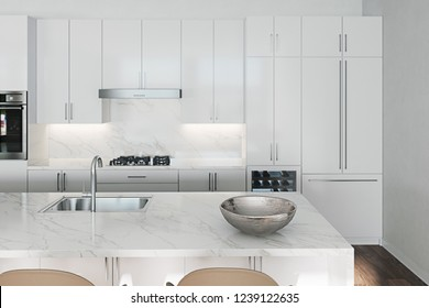 Empty clean white kitchen with island and barstools 3d render close up